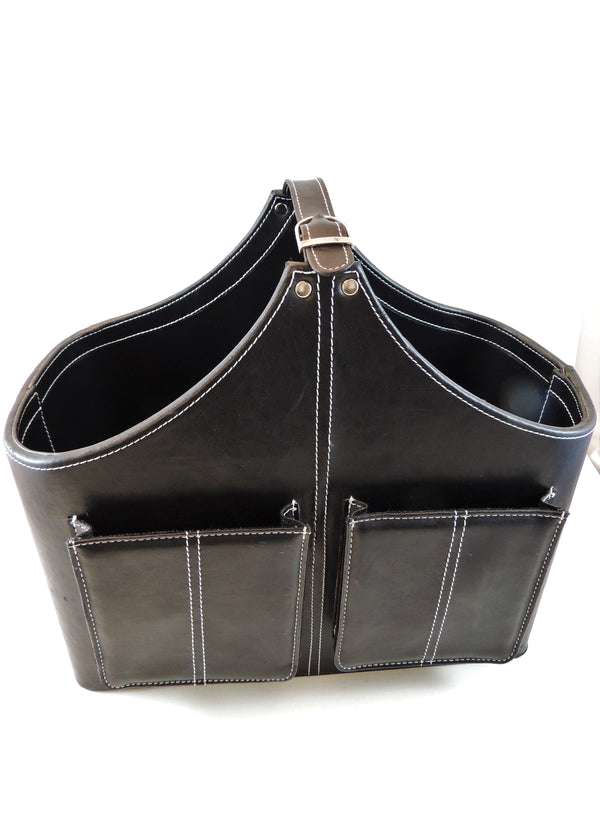 Black Leather Carry-All