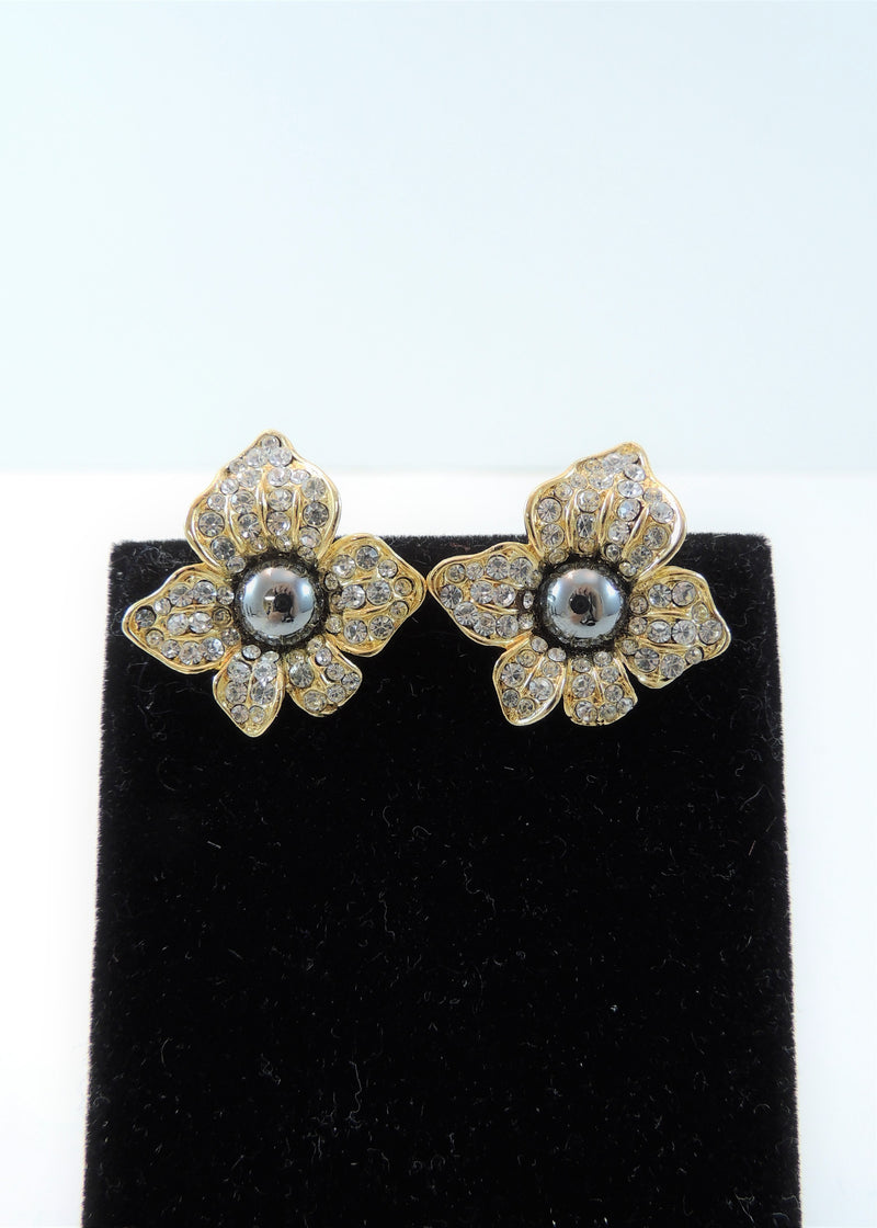 Vintage Rhinestone & Hematite Floral Design Clip Earrings