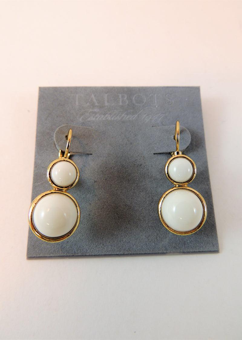 NEW Talbots Crème & Gold Tone Clip Earrings