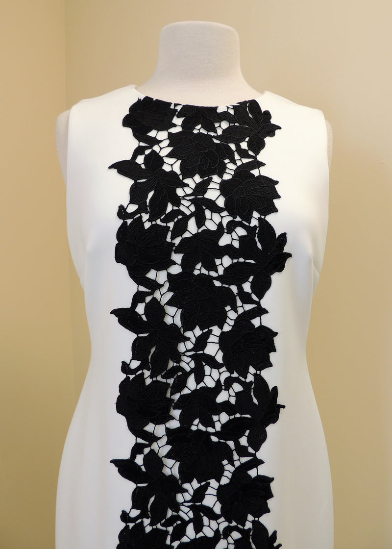 Calvin Klein White Dress w/ Black Lace (10)