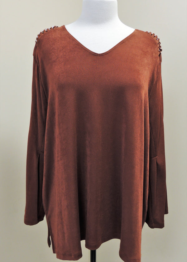 NEW Chico's Rich Mahogany Shoulder Tunic (XXL) (Plus Size)