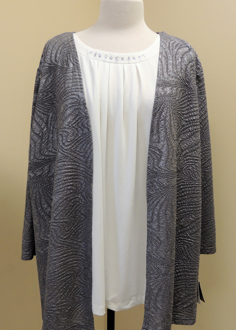 NEW Sag Harbor Silver Top (XXL) (Plus Size)