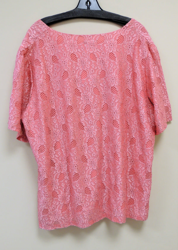 Pink Lace Top (2X) (Plus Size)