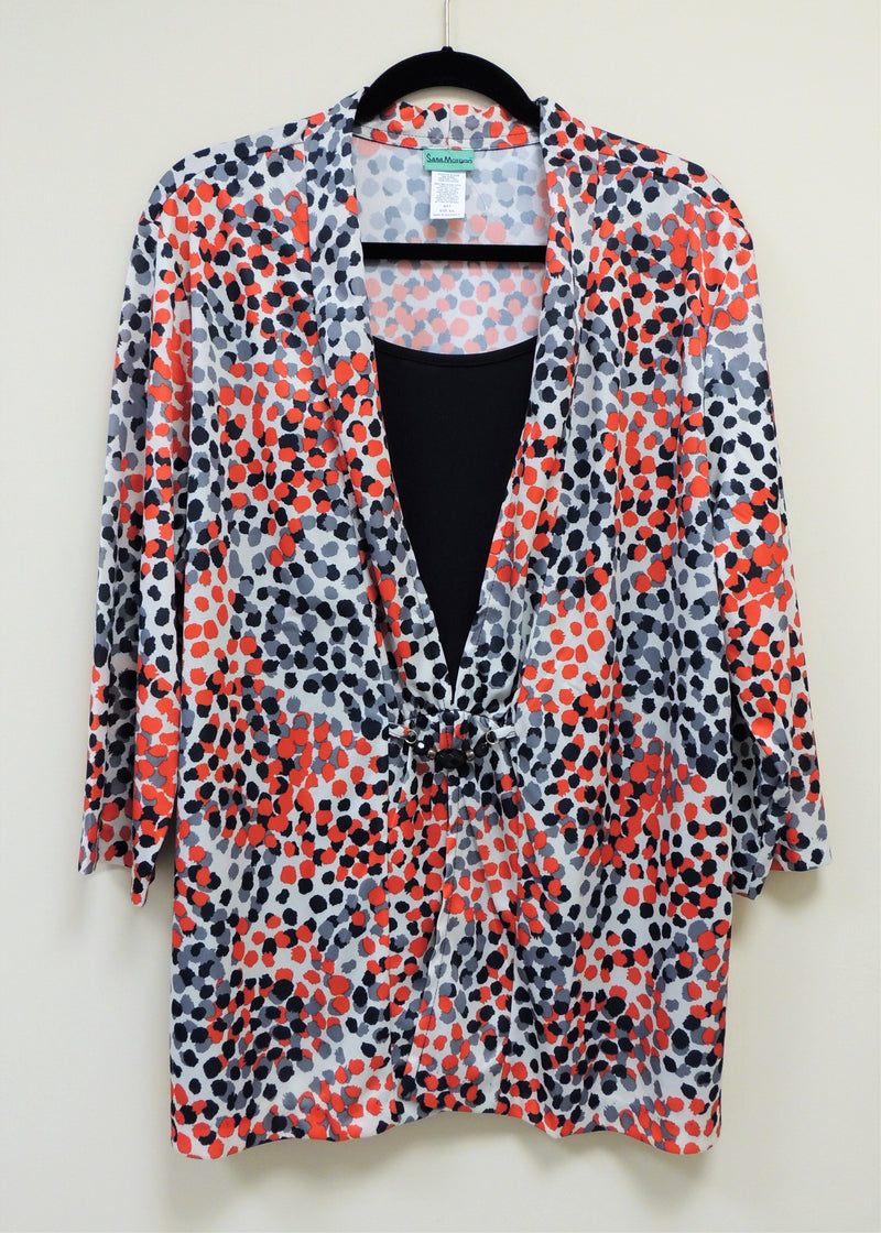 Red/Black Spotted Blouse (2X) (Plus Size)