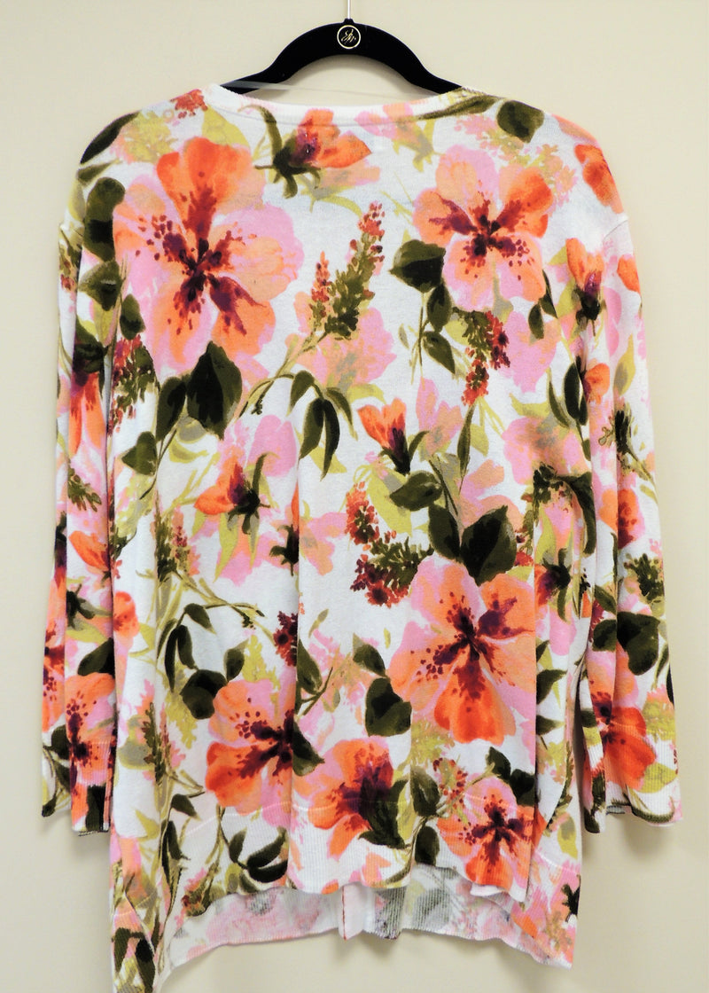 White Floral Print Sweater 3X (Plus Size)