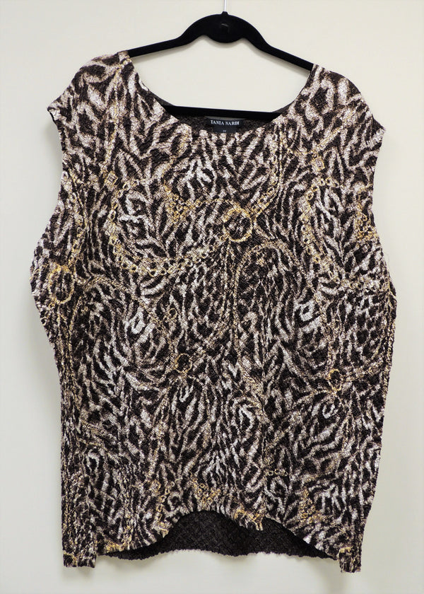 NEW Reversible Brown Print Shell (2X) (Plus Size)