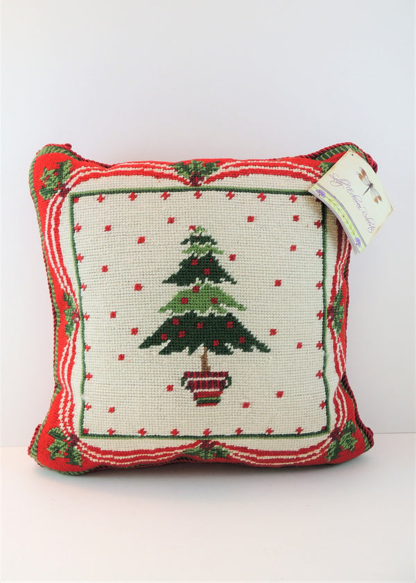 NEW Christmas Tree Needlepoint Pillow