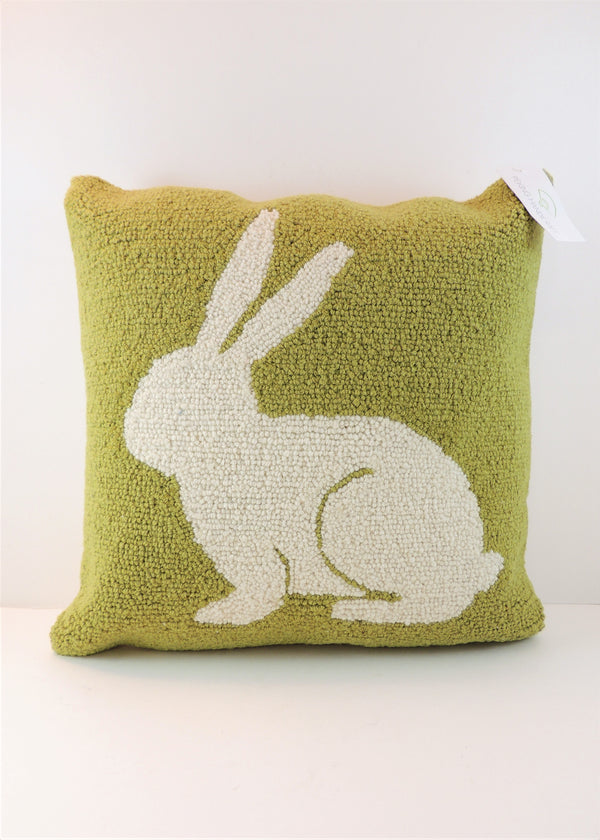 White Rabbit Needlepoint Pillow