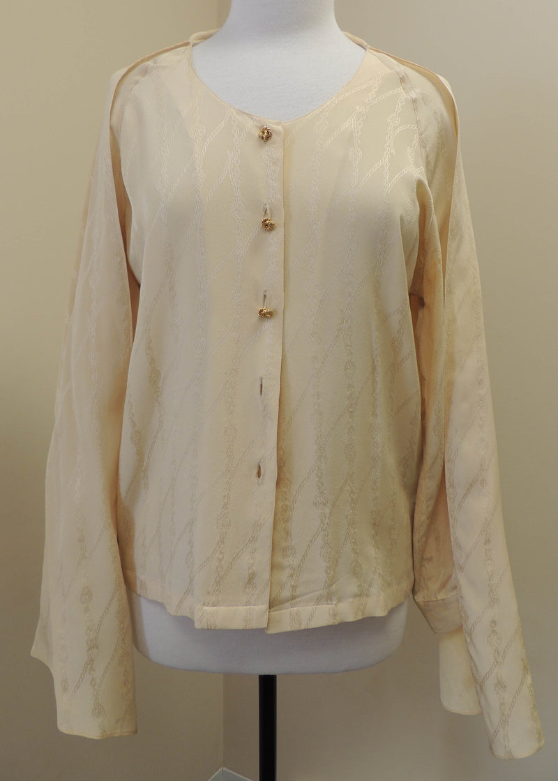 Hermes Paris Creme Silk Buttoned Top (14)