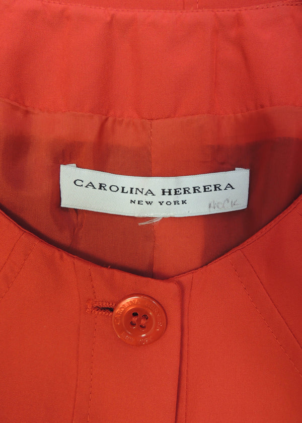 Carolina Herrera Coral Red Pink Button Top (M)