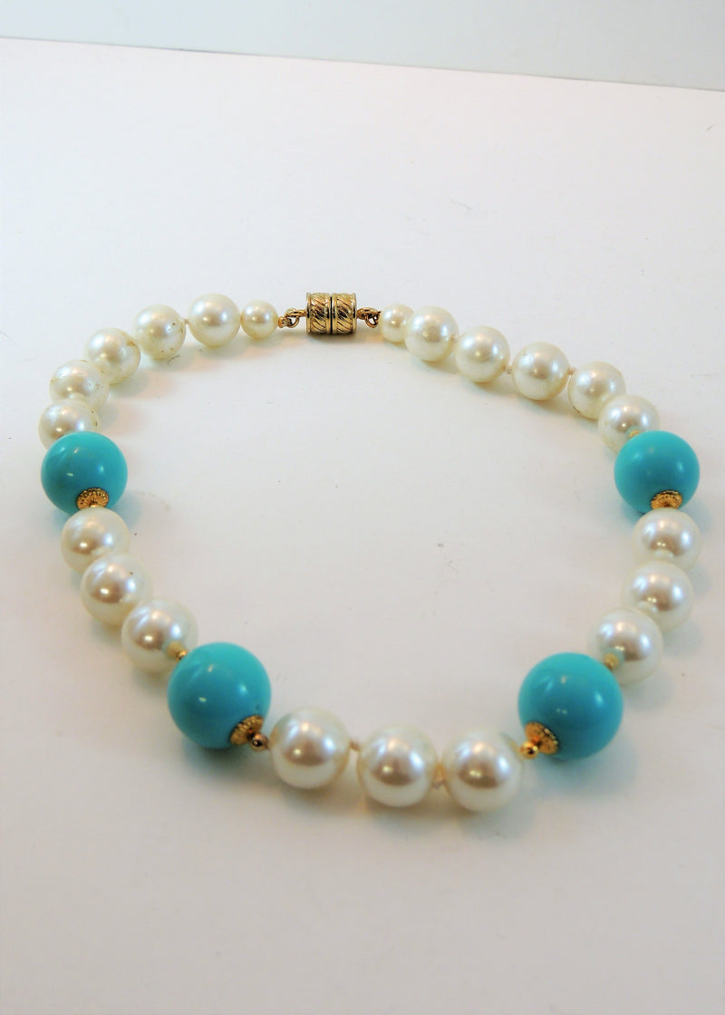 Turquoise & White Pearl Necklace (16 in)