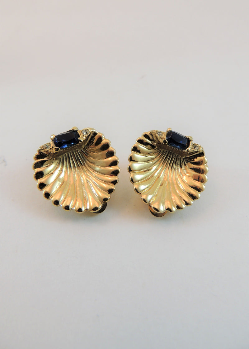 Vintage Gold Clam Shell & Blue Stone Earrings
