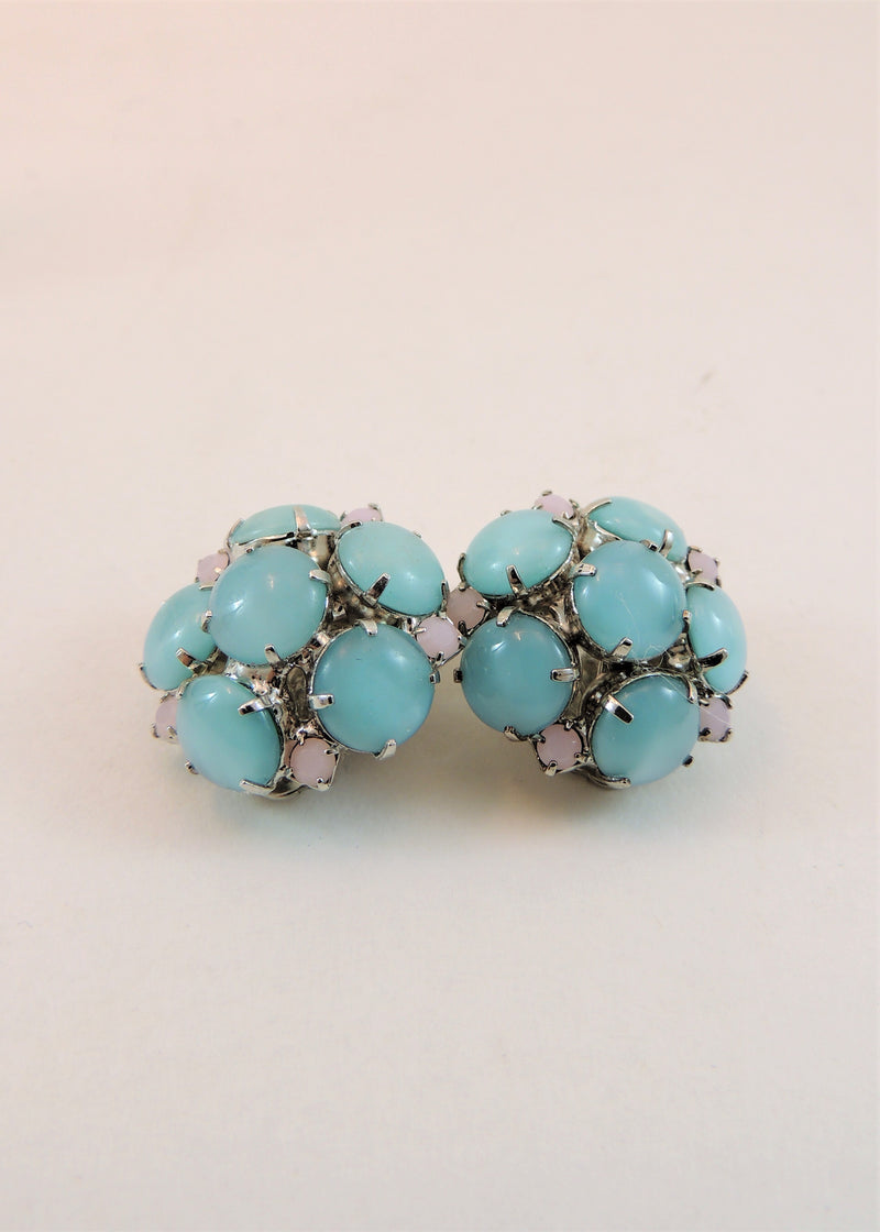Vintage Blue & Pink Stone Earrings