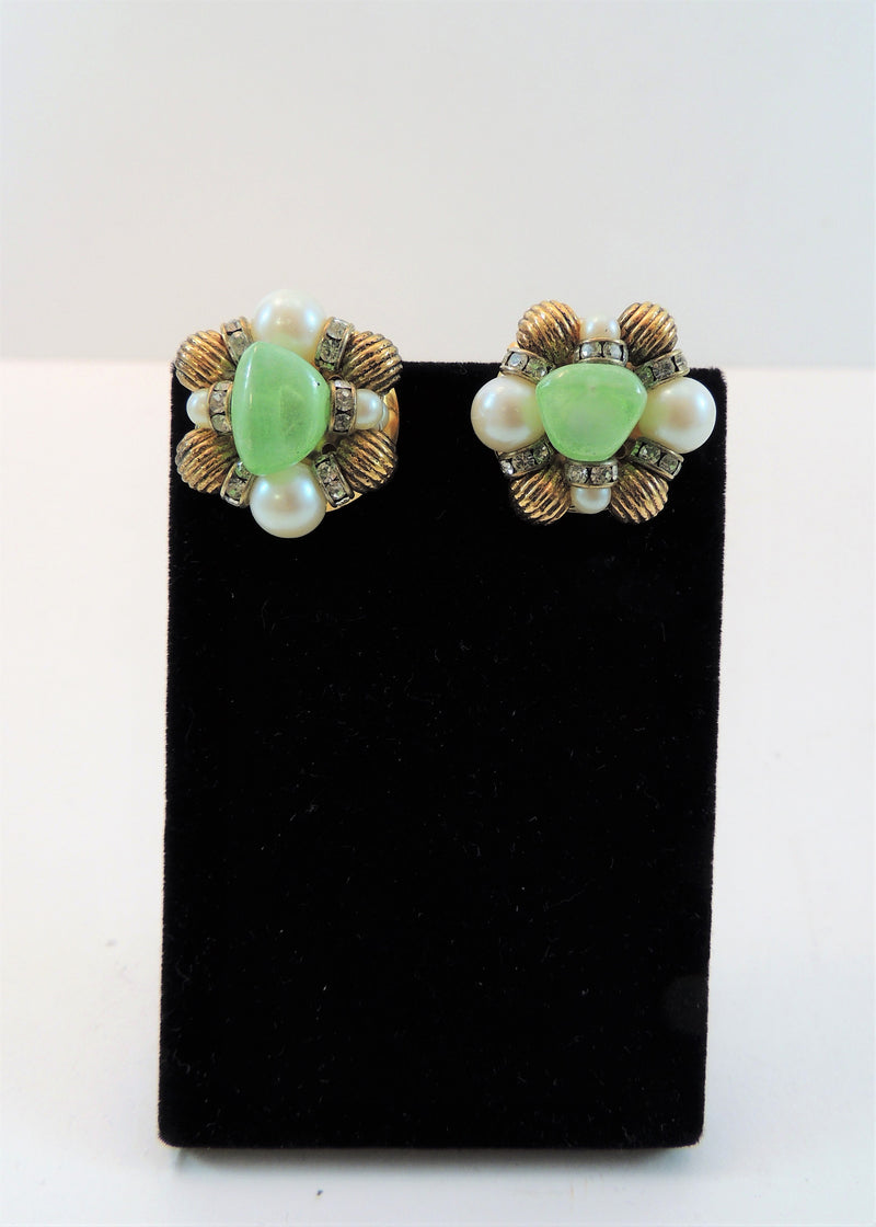 Vintage Green Stone & Pearl Gold Earrings