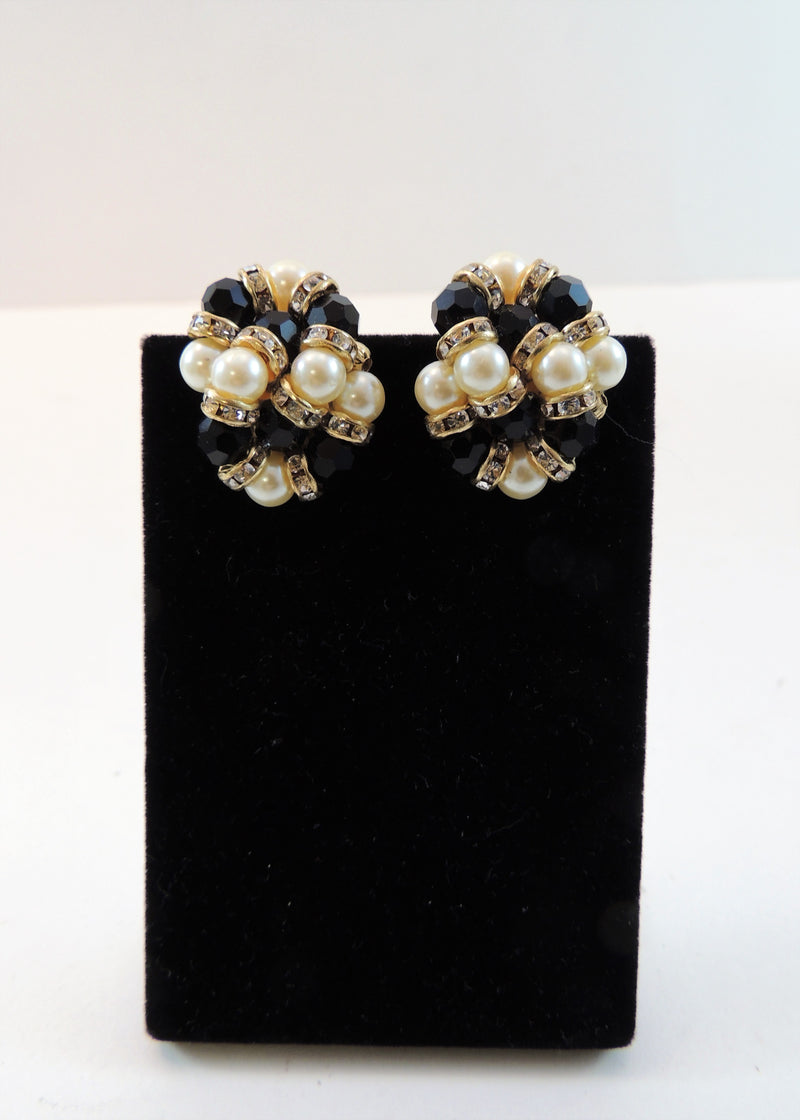 Vintage Black & Pearl Gold Earrings