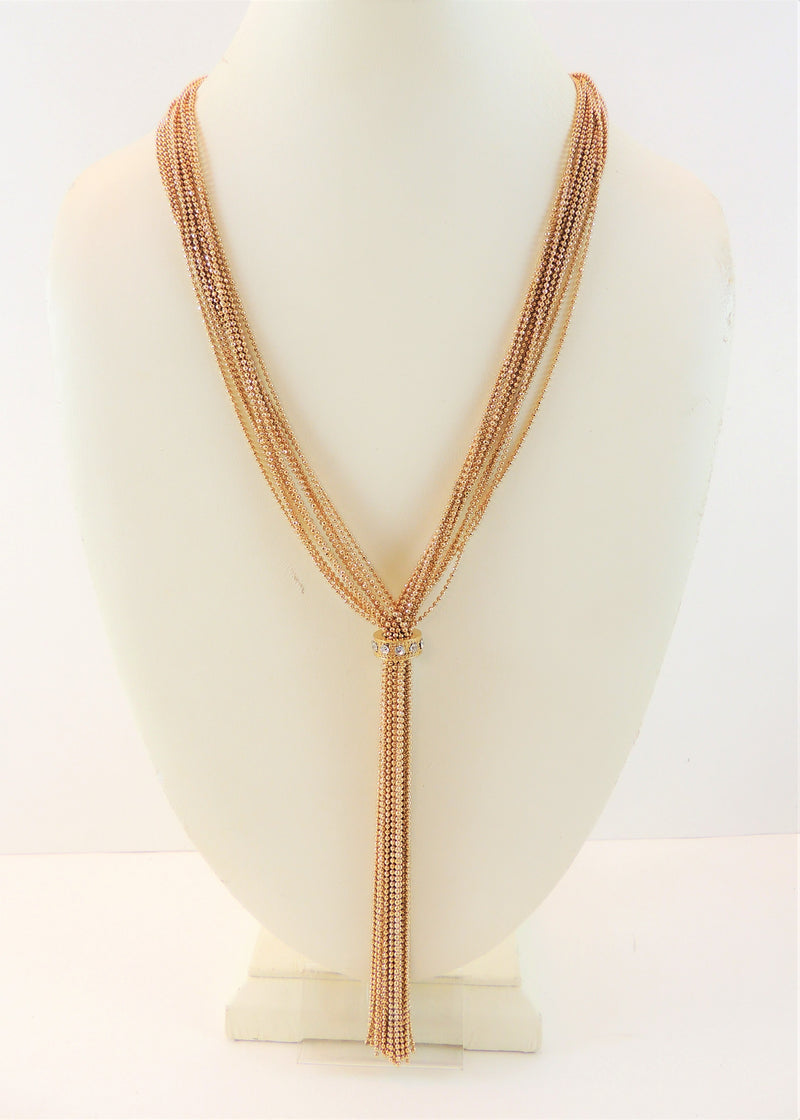Gold Tassel Long Necklace (18 in) (NWT)