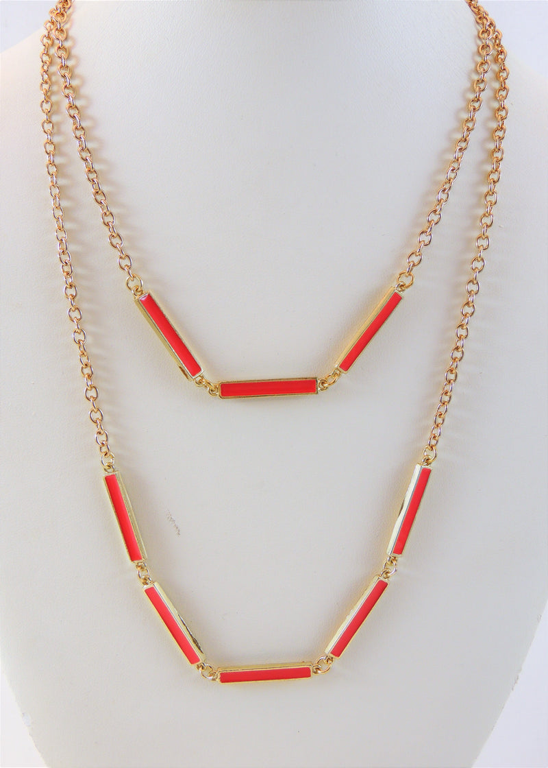 Pink/Gold Multi-layer Necklace (18 in) (NWT)