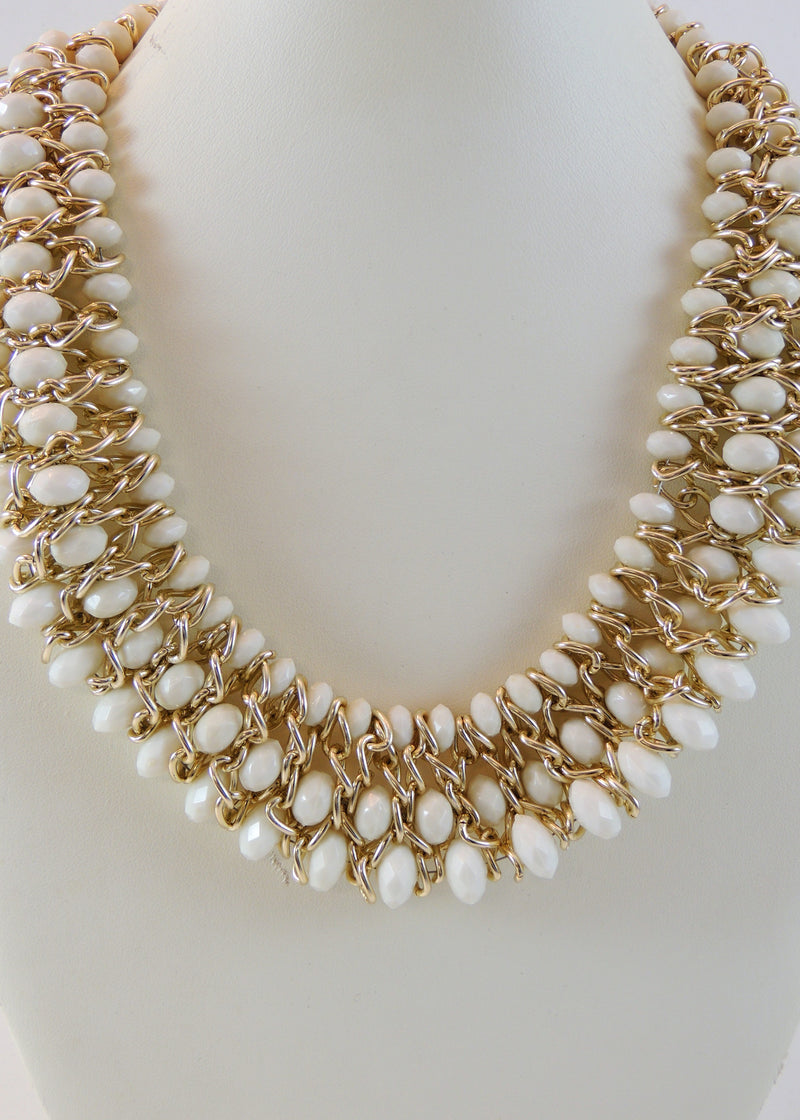 White/Gold Necklace (22 in) (NWT)