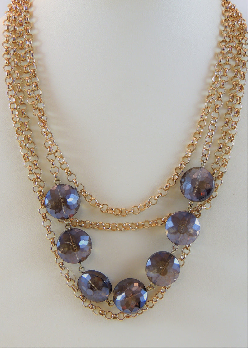 Gold & Purple Stone Multi-layer Necklace (22 in) (NWT)