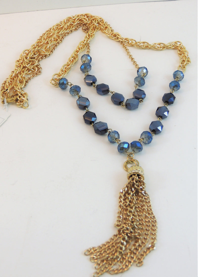 Gold & Blue Stone Multi-layer Long Necklace (32 in) (NWT)