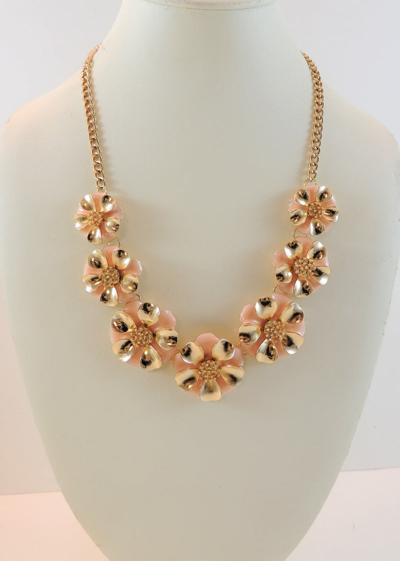 Pink/Gold Floral Necklace (22 in) (NWT)