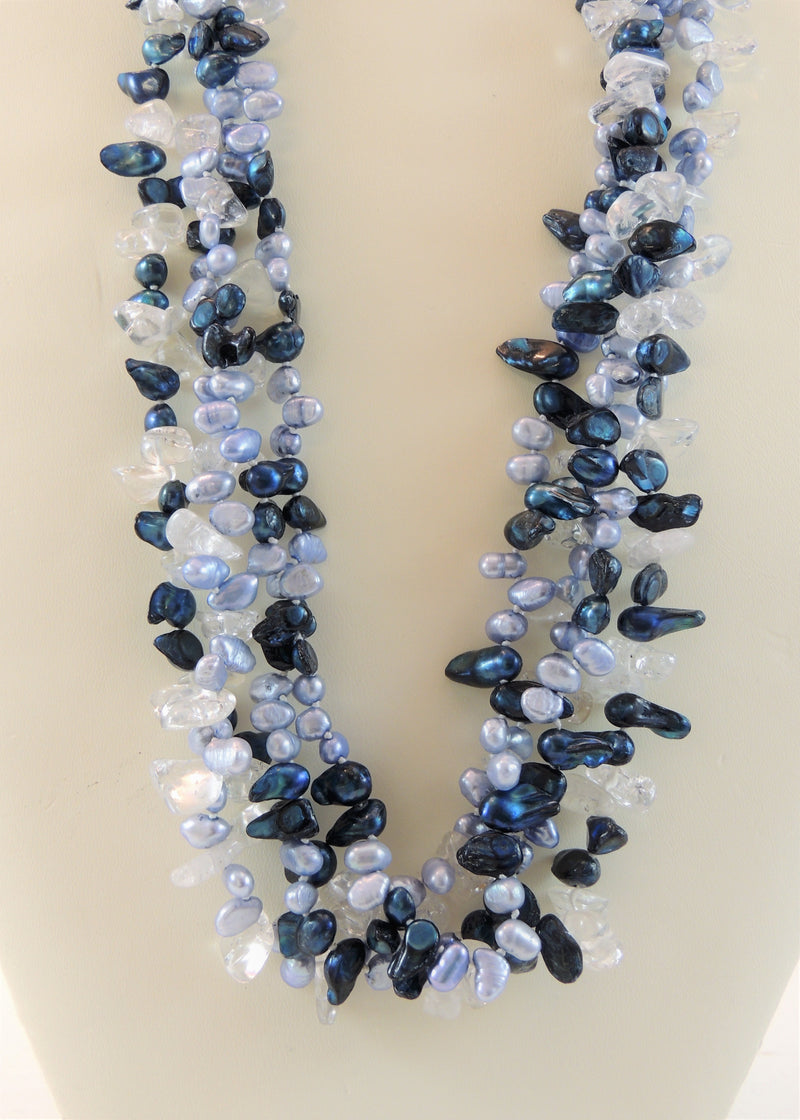 Blue Pearl & Crystal 4 Strand Necklace (18 in)
