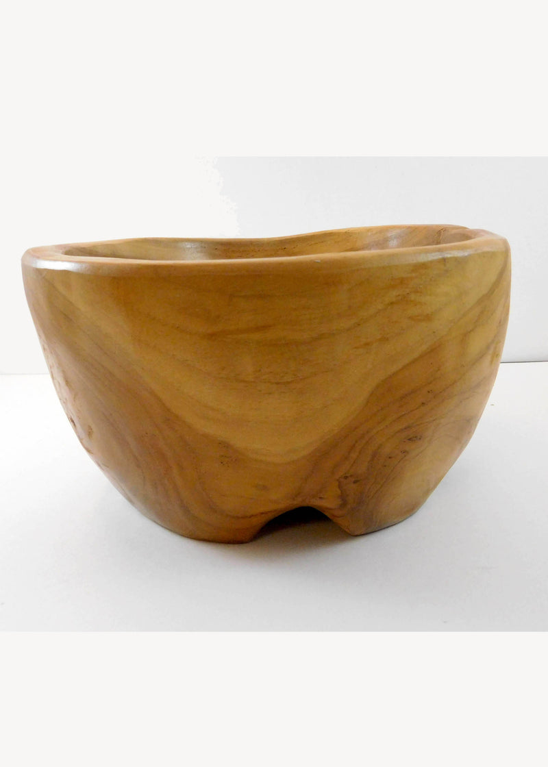 Artisan Hand Carved Wood Four Footed Bowl