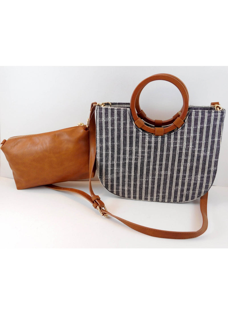 NEW Antik Kraft Black Plaid Tote Bag + Inner Bag