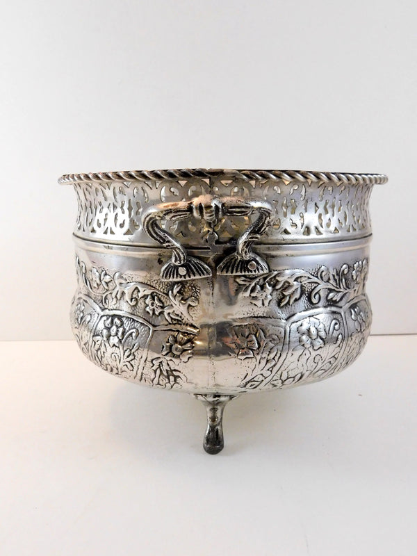Lacquered Silver Plate Made in India Footed and Handled Bowl