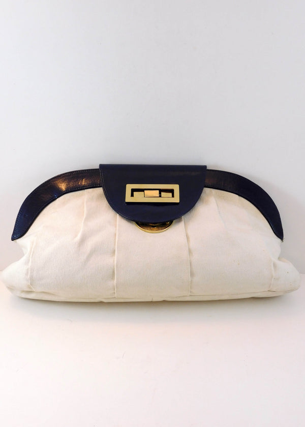 Kage Creme and Navy Clutch Purse