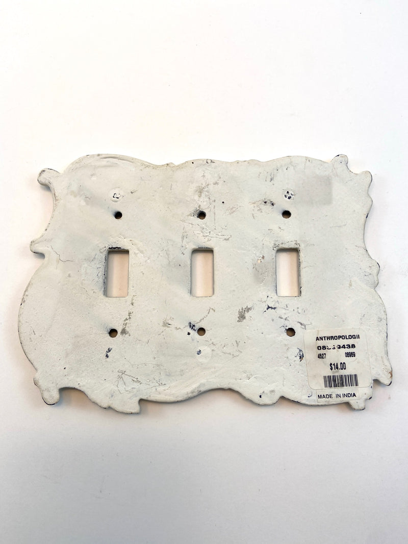 Anthropologie Rustic Blue/White 3 Toggle Switch Plate