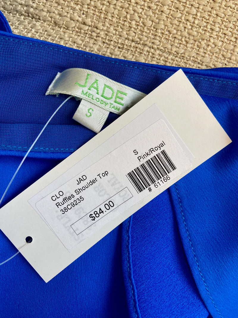 NEW Jade Royal Blue Ruffles Shoulder Top (S)
