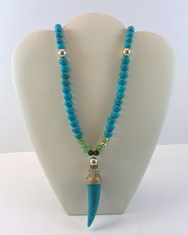 Turquoise Enamel Horn Necklace (32 in) (NWT)