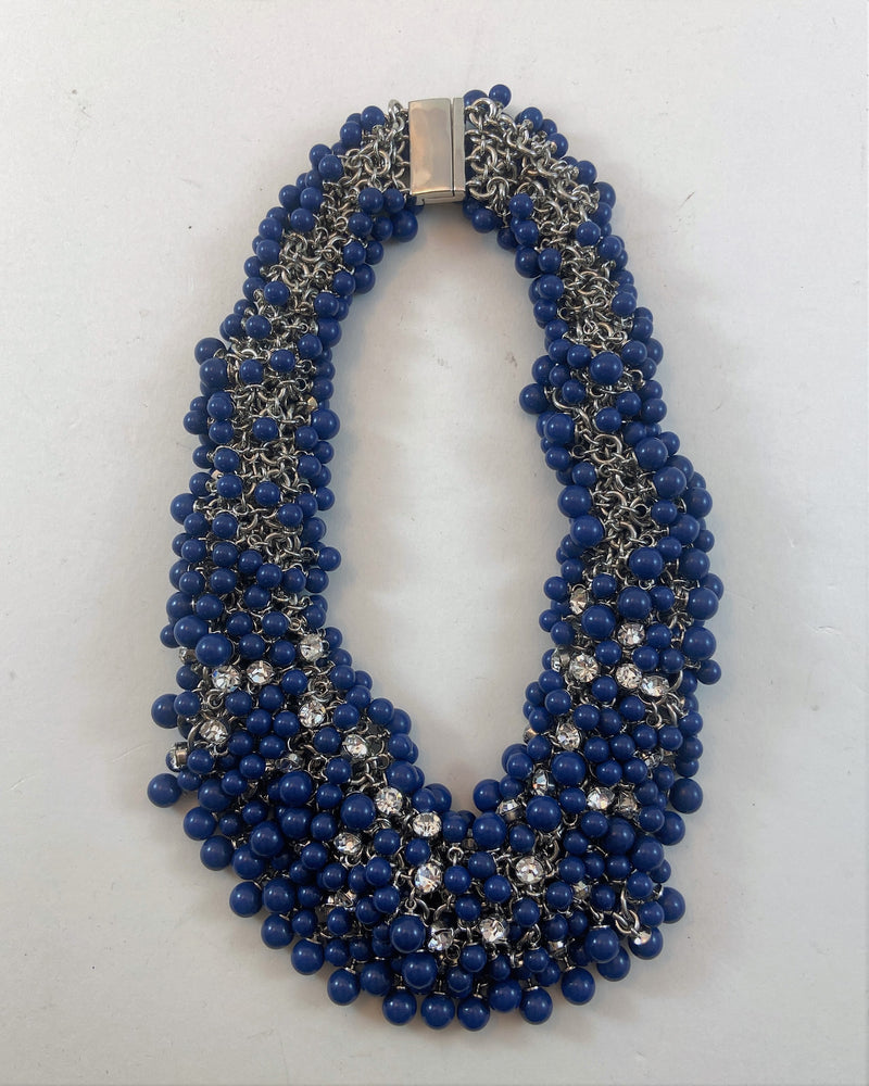 Neiman Marcus Blue Bead Necklace (18 in)