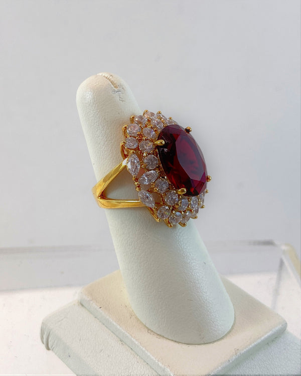 Red Stone Diana Ring (Size 6)