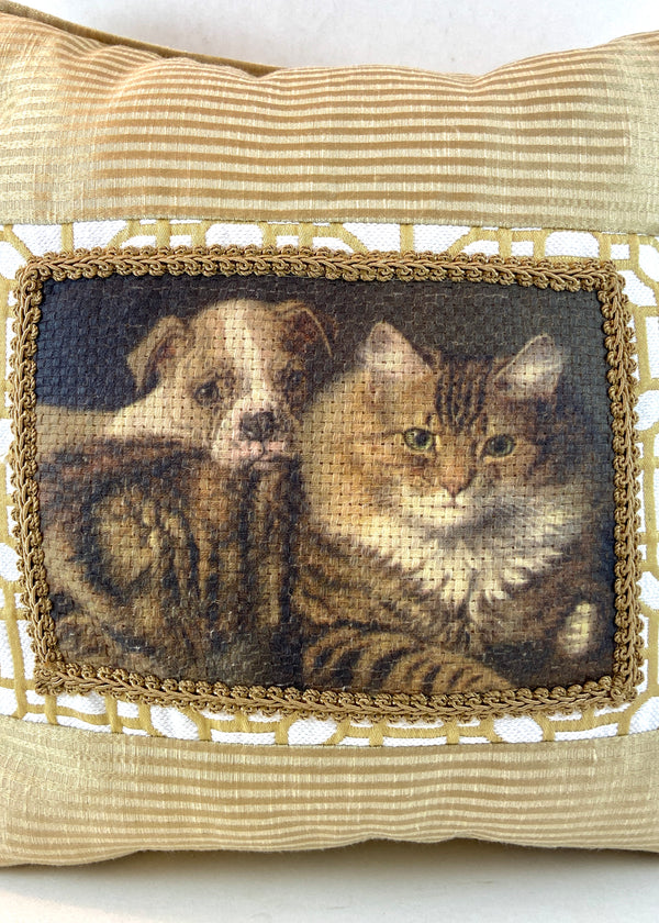 Gold/White Cat & Puppy Pillow