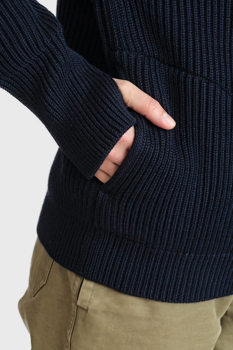 Navy Half-Zip Pockets