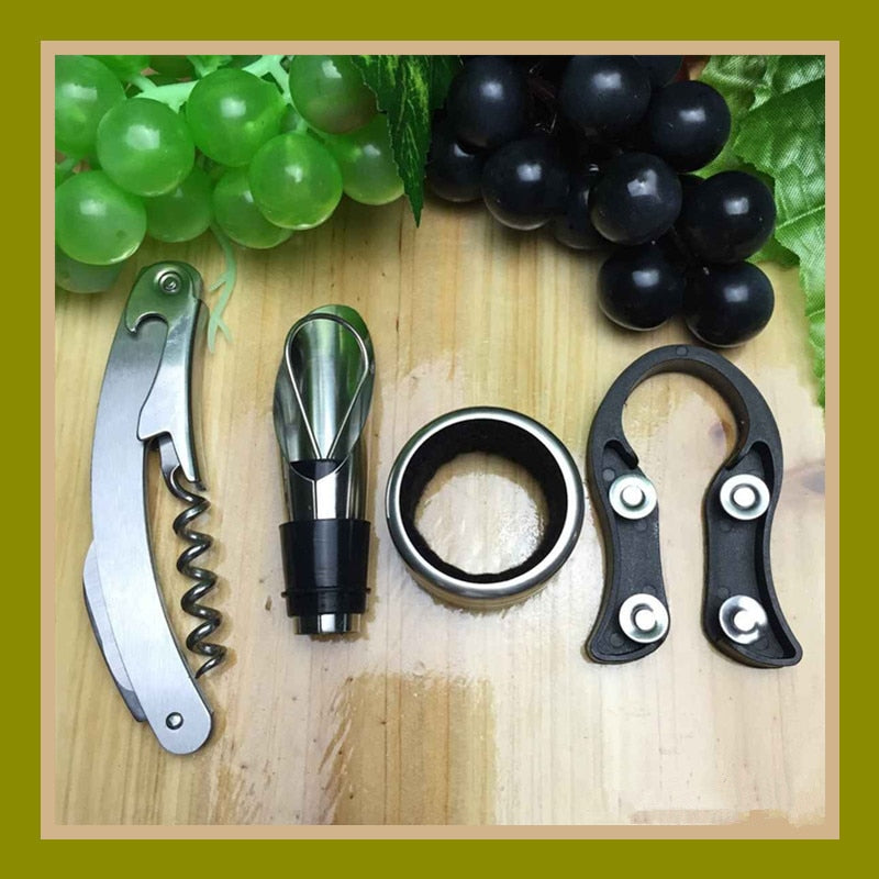 4 pcs/Set Wine Red Wine Bottle Opener Sanding Shrimp Knife Pourer Wine Ring Cutter Red Wine Set