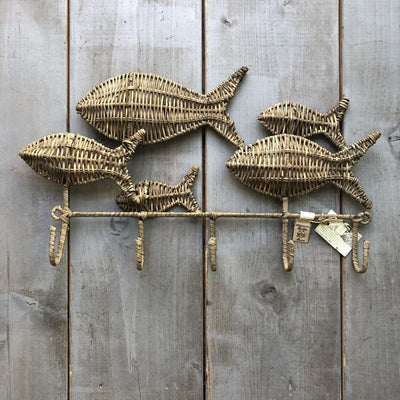 Rustic Rattan Happy Fish Coat Rack - Südstrand