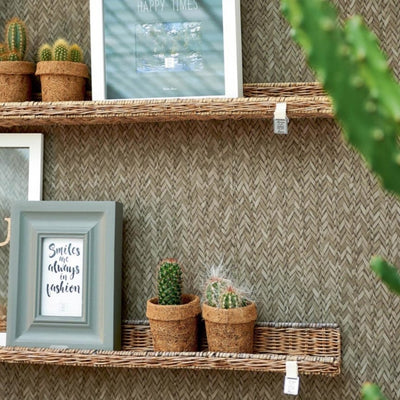 Rustic Rattan Wall Decoration Shelf - Südstrand