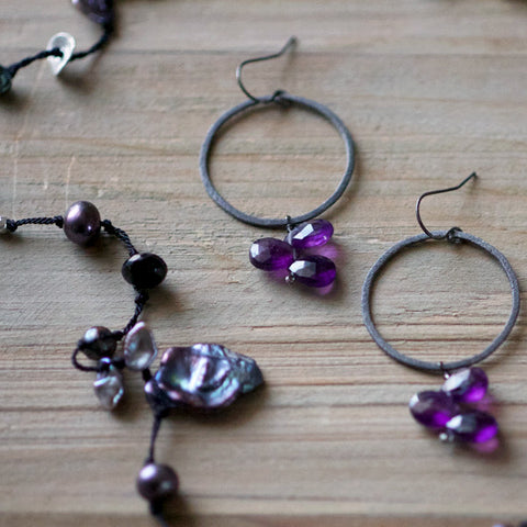 Statement Earring in Oxidized and Amethyst