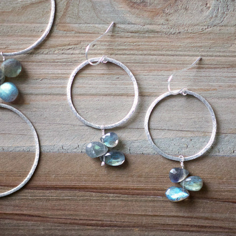 Statement Earring in Silver and Labradorite
