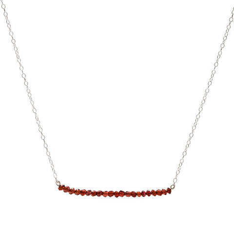 Line Necklace - Garnet
