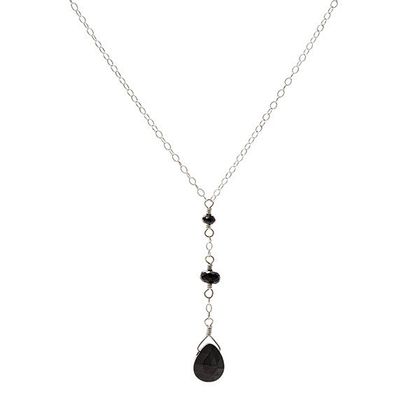 Short Y Necklace - Black Spinel