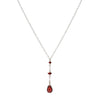 Short Y Necklace - Garnet