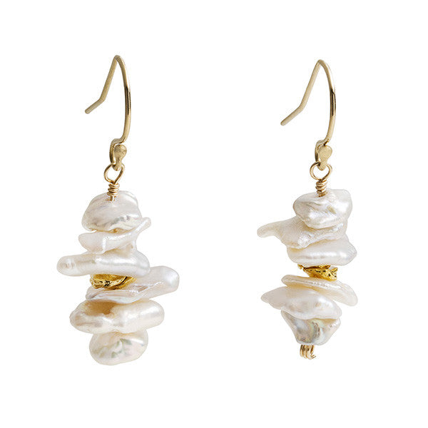 Stacked Pearl Earring - Gold