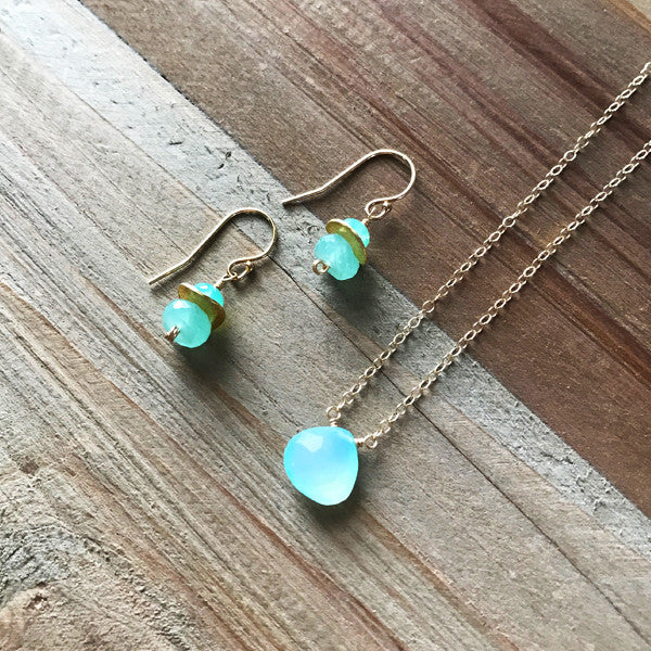 Tiny Drop Earring in Gold and Chalcedony