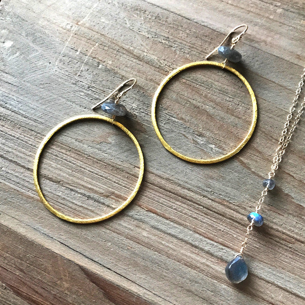 Large Circle Earring in Gold and Labradorite