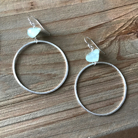 Large Circle Earring in Silver and Fluorite