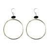Large Circle Earring in Silver and Black Spinel